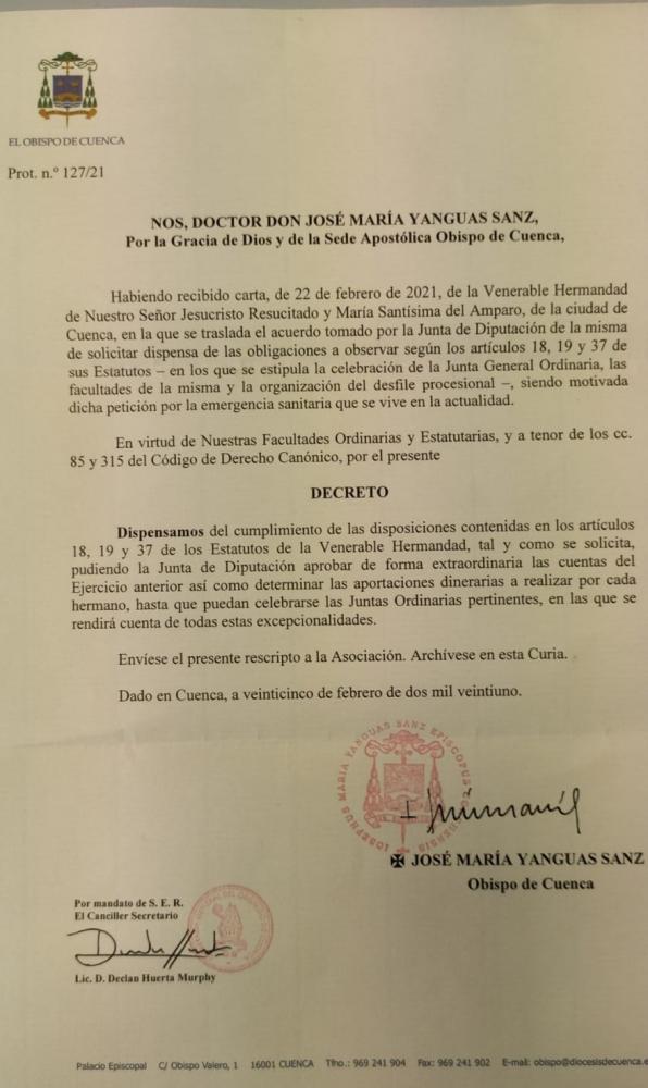 DECRETO DE DISPENSA DE LOS ESTATUTOS